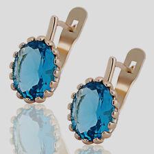 10K Rose Gold Filled GF Large 8x11mm Aquamarine Hoop Earrings Earings