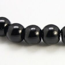 100 x Black Glass Pearl Round Beads - 8mm - LB1306