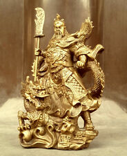 Chinese heroic Guan Gong Yu Bronze Warrior God Sword Stand in Dragon Statue
