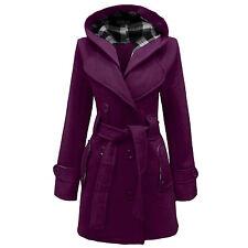 LADIES WOMEN'S HOODED BUTTON BELTED COAT JACKET WINTER WEAR SIZES 8 - 20