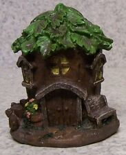 """Garden Accent Fairy or Gnome Tree Trunk House NEW 4"""" tall"""