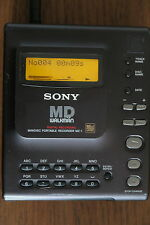 Sony MZ-1 MINIDISC Player Recorder in Nero Con Custodia & Alimentatore Ex-COND