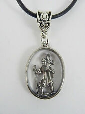 St Christopher Pewter Pendant on leather necklace. Travel Talisman/Amulet