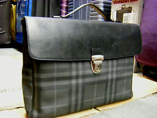 100% Authentic BURBERRY London Check PVC Black/Grey Leather LAPTOP BRIEFCASE