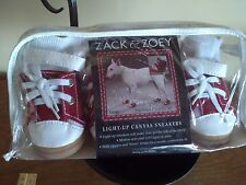 "Zack and Zoey LARGE *DOG BOOTS LED LIGHT UP CANVAS SNEAKERS NWT-Paw-2""L x1.5"" W"