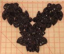 "Large beaded sequins black floral collar applique 12"" x 8"" flower bodice"