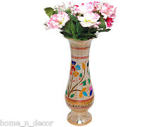 Brass Flower Vase Decorative Elegant Hand Painting Work Showpiece Flower Pot