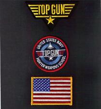 TOP GUN Action MOVIE Fighter Weapons School USN Sew On Iron On PATCH 3 Pcs Set