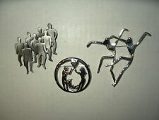 3 Vintage Silvertone Abstract Modernist People Brooch Pins - Ultra Craft