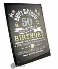 Happy 50th Birthday Gift Glass Plaque FG49450