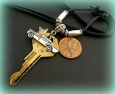 Vintage Brass CAR Automotive KEY Jewelry PENDANT NECKLACE - General Motors Key?