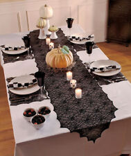 HALLOWEEN Party HAUNTED HOUSE Black 5-Pc. Spiderweb Lace Table Set SPIDER WEB