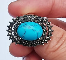 Natural Turquoise Topaz Gem Stone 925 Sterling Silver Ring Jewelry size 7 1/4