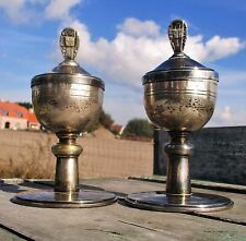 Silver Couple Antique Church Altar Relic Holy Chalices Silver Plated Authentic