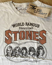 Official THE ROLLING STONES ~ WORLD FAMOUS TRAVELING ~ T-Shirt NEW Size L ~ Tan