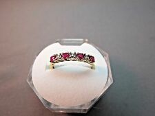 10K Yellow Gold Ring Diamond Ruby Size 9 Band 1.6 Grams .28 TCW Excellent