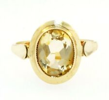 9Carat Yellow Gold Oval Rubover Set Citrine Solitaire Ring (Size P) 11x13mm Head