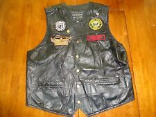 Motorcycle Army Vet Leather Vest - Korean War Pin & POW MIA Patches + More