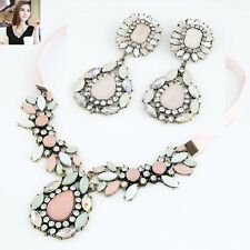 Fashion Luxury Statement Gentle Pink  Flower Pendant Necklace Earrings Vivid set