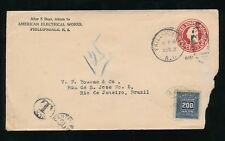 BRAZIL 1919 POSTAGE DUE from USA STATIONERY PHILLIPSDALE RHODE ISLAND ELECTRICAL