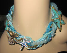 Betsey Johnson Into the Blue starfish and fish  statement necklace