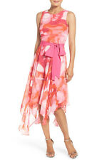 NEW 178 Eliza J Print Chiffon Scarf Hem Dress.SZ:10