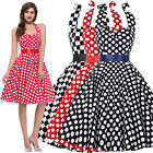 Women 50s Vintage Floral Swing Prom Party Cocktail Dress Dots Bow Halter Evening