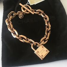 Michael Kors Rose Gold Tone Padlock Chain Links Toggle Bracelet Jewelry Pouch