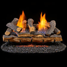 "New 24"" Vent Free Fireplace Gas Logs Propane/Natural Gas with Remote Control"