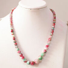 "multicolor jade  round 6-14mm  necklace 18"" nature wholesale bead gift red gree"