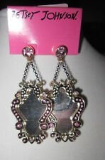 "Betsey Johnson ""Angel Devil"" BAT MIRROR AND BLING EARRINGS"