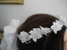 First Communion White Star Flower Wreath Veil w/ ribbon & pearl streamers