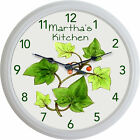 IMAGE OF VINTAGE IVY WHITE PATTERN FRANCISCAN WALL CLOCK PERSONALIZED KITCHEN