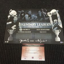 CARLTON BLUES LEGENDARY LEADERS HAND SIGNED NICHOLLS JESAULENKO AFL PRINT