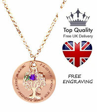 Family Tree of Life Pendant Personalised Engraved Name Necklace Rose Gold Plated