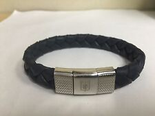 ERMENEGILDO ZEGNA BRAIDED BLUE LEATHER BRACELET