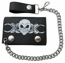 New Skull on Scroll Leather Trifold Chain Wallet Made in the USA