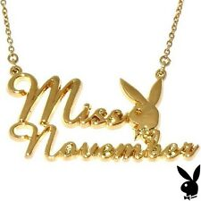 Playboy Necklace MISS NOVEMBER Bunny Pendant Gold Plated Playmate BIRTHDAY GIFT