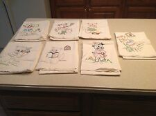 Vintage Embroidered Dish Towels Days of The Week Chores CATS Fabulous Condition