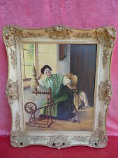 pretty,Old Painting__antique Lady am LoomSigned : Erich FF.Geier
