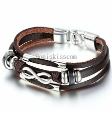 Love Infinity Symbol Charm Men's Women's Leather Bracelet Cuff Bangle Wristband