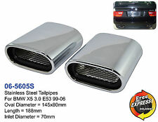 Exhaust tips tailpipe trims Stainless Steel for BMW X5 3.0 E53 99-06