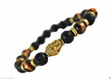 Black Lava Energy Stone and Tigers Eye Bead Gold Buddha Yoga Meditation Bracelet
