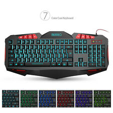 MEMTEQ Gaming Keyboard Teclado Retroiluminada LED 7 Colores para Laptop PC Negro