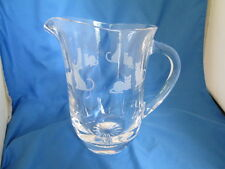 """Rare Lenox Heavy Lead Crystal Glass Etched Cat Pitcher Signed Lenox 7"""" High"""