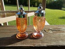 Vintage Pressed Glass Peach Colored Glass Salt and Pepper Shakers