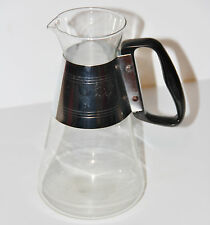 Vintage Retro Pyrex Glass Coffee Carafe Pitcher Metal Band Black Handle