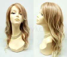 """Mixed Natural Blonde Wig Heat Resistant Beach Waves Long Wavy Synthetic 18"""""""
