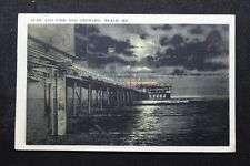 Vintage c.1924 Postcard Night View of Surf and Pier, Old Orchard Beach, Maine