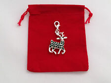 Christmas Reindeer Clip on Charm in Red Gift Bag - Silver Plated - FREE P&P
